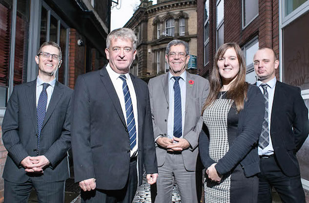 Clinical Negligence team, from left to right, Nick Gray, Simon Ramshaw, Tim Slow, Lizzie Mould, and Wayne Walker © Kevin Michael Ladden Photography
